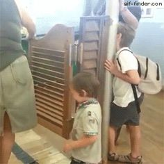 Kid gets hit by swinging door | Gif Finder – Find and Share funny animated gifs