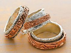 dual metal clay double spinner rings by Arlene Mornick - from Do You Know These Fun Ways to Use Metal Clay? Weaving, Cheetos, Even Knitting with Metal Clay! Plus 5 Expert Metal Clay Jewelry Making Tips - Jewelry Making Daily Spinner Rings, Metal Clay Jewelry, Custom Jewelry Design, Cheetos, Ring Designs, Napkin Rings, Gold Rings, Weaving, Closure Weave