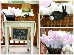 Bunny Themed Birthday Party - become a bunny station, bunny ears and cotton ball bunny tails.