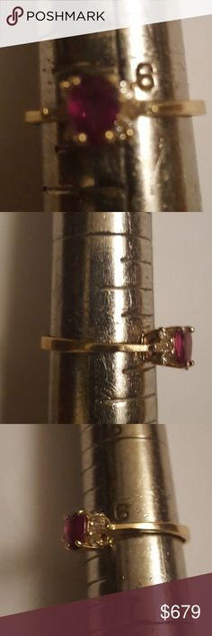 Diamond Ruby Ring .49R .25TDW 14KT Yellow Gold This Ruby Ring is made in 14KT Yellow Gold and comes with 0.25 Ct TDW  and comes with a .49CT Ruby Gemstone. This Ring is a size 6. This ring has 4 round stones and 2 baguette stones on the sides.  The diamonds on this Ring have a clarity of SI1/SI2 and color is H,I. Style NoH-20 Metal TypeGOLD Metal Weight1.9 Gr Diamond Weight0.25 Ct Side Stone ShapeHS Setting StyleProng Gems.49 CT Available in14K Gold MSRP$1199.00 GEORGEOUS RUBY RING…