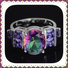 "🌺🌴🌺 💯% SILVER TOPAZ RING 🌺🌴🌺 🌺🌴🌺  NWOT:  This 💯% sterling silver ring is an absolutely amazing ring.  It is a purple mystic topaz cubic zirconia.  The largest stone is 1/4"" wide x 1/2"" high.  The two stones on either side are graduated and gives this ring so much emphasis.  You definitely won't be sorry with this one.  Compliments are guaranteed. 🌺🌴🌺 Jewelry Rings"