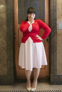 chubbyfashion:  frocksandfroufrou:  A sneak peek at today's outfit! Dress: Bettie Page Clothing Cardigan: Cocolatte  Bettie Page Clothing is about to get all my monies.