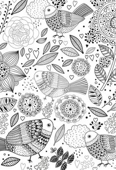 Birds Colouring Page Including Mandala Designs And Leaves Stress Relieving Relaxing For Grown Ups