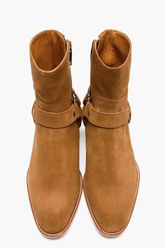 SAINT LAURENT Tan Suede Biker Boots