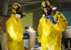 Walter White and Jesse Pinkman in their meth cook outfits.