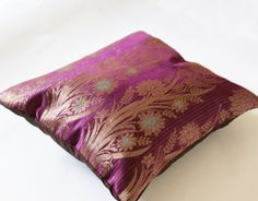Plum and Gold Mini Sari Cushion Cover
