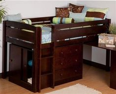 Junior Loft Bed in Espresso Finish