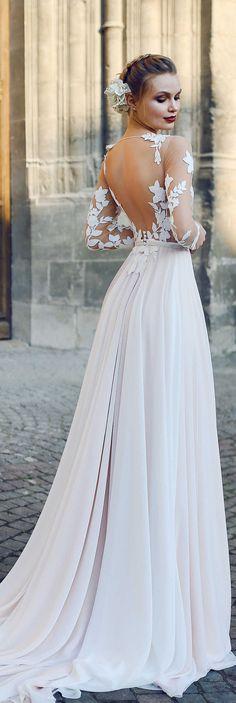 Adorable 30 Simple Beautiful Low Back Wedding Dress https://bitecloth.com/2017/10/01/30-simple-beautiful-low-back-wedding-dress/