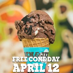 Ben & Jerry's Free Cone Day is April 12, 2016. Find your local Scoop Shop and mark your calendar!