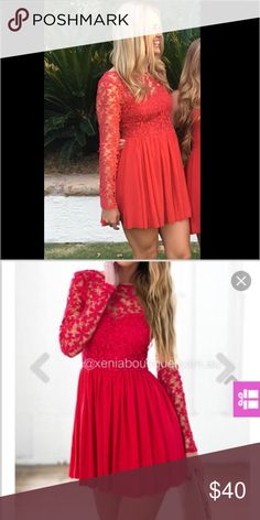 Xenia red dress Red dress lace floral pattern size medium. Worn once Xenia Boutique Dresses Midi