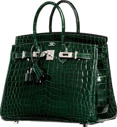 Hermes 25cm Shiny Vert Fonce Nilo Crocodile Birkin Bag with Palladium Hardware