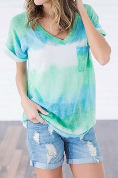 92c03b50645 Mixed Color Casual Printed Pocket V Neck Top Price   25.99 Short Sleeves