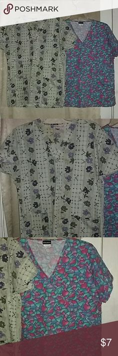 Bundle of Two Scrub Tops 65% polyester 35% cotton one is Best Medical Wear and the other is Absolute Tops