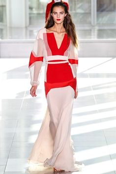 Antonio Berardi White & red sheer chiffon gown. #ss14