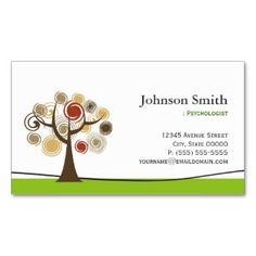 Counseling Business Cards with Tree Symbol.