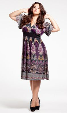 Victoria Dress (Warm Spice) in Purple by SWAK Designs. Love the pattern, the colors, the sleeves- everything. Warm Dresses, Pretty Dresses, Casual Dresses, Summer Dresses, Curvy Girl Fashion, Plus Size Fashion, Plus Size Patterns, Paisley Print Dress, Victoria Dress