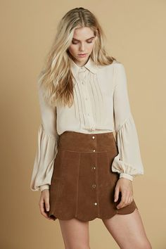 peasant blouse, 70s brown suede skirt
