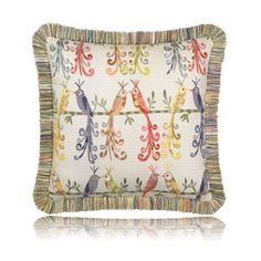 Fun pillows to add whimsey to your outdoor spaces!  corinnegailinteriordesign.com. Elaine Smith lovebirds fringed pillow (20x20) from Thos. Baker