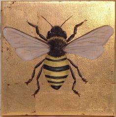 Gold leaf canvas with oil painting of bee