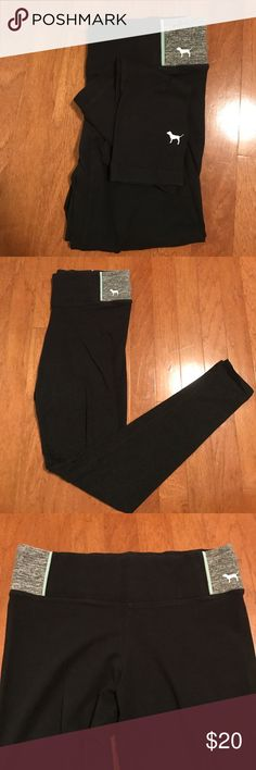 Victoria's Secret PINK ankle leggings Super comfy yoga leggings! They're black with heathered grey and light blue detailing on the hips. Comes with a small key pocket in the back waist. Comes with the signature dog logo at the bottom of the left leg. They're super comfy and I'm great condition! PINK Victoria's Secret Pants Leggings