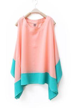 Color Matching Sleeveless Irregular Chiffon Shirt Pink