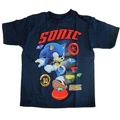 Sonic Little Boys Navy Character Printed Crew Neck Cotton T-Shirt 5-6 @ niftywarehouse.com