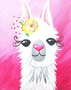Lovely Llama can be customized for boy or girl. Alpacas, Kids Canvas, Diy Canvas Art, Large Canvas, Images Lama, Painting For Kids, Diy Painting, Llama Pictures, Llama Images