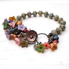 beaded bracelet green bracelet floral bracelet flower by songbead, £40.00