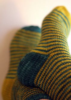 These socks have a complementary color scheme because the yellow is on the opposite side of the color wheel as the blue. Crochet Socks, Knitting Socks, Hand Knitting, Knit Crochet, Knitting Patterns, Crochet Patterns, Knit Socks, Patterned Socks, Striped Socks