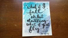 What if I Fall Oh but Darling What if You Fly Hemingway Hand Lettered Watercolor Canvas Quote Wall Hanging Home Decor Graduation Gift Art by ArtOfWordsBoutique