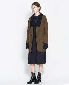 ZARA - WOMAN - COAT WITH KNITTED LAPEL