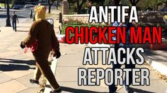 AntiFa CHICKEN MAN Attacks Reporter And Police Pursuit Follows!