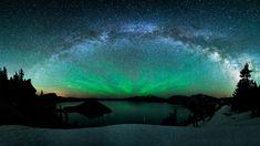 Stars Winter Snow Northern Lights Aurora Borealis Wallpaper Pictures HD