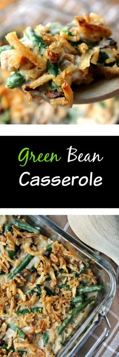 This GREEN BEAN CASSEROLE is not only a Thanksgiving favorite but also pairs well next to roast chicken, pork chops, really anything I can think of.  Total comfort food.  This one uses fresh green beans and fresh mushrooms! Yum!