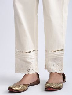 Buy Ivory Elasticated Waist Cotton Pants Women Neel Undulating block prints and delicate embroidery on Chanderi separates<br> awash in shades Salwar Designs, Kurta Designs Women, Kurti Designs Party Wear, Blouse Designs, Plazzo Pants, Salwar Pants, Trouser Pants, Peplum Pants, Linen Trousers