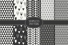 Seamless pattern with triangle. Graphics Set of 5 seamless patterns. Black and white version.Files are delivered in zip compression.Files by Krolja