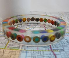 Resin Bracelet, Bangle Bracelet, Resin Jewelry, Colored Pencil, Teacher Gift, Upcycled, Artist, Crafter, Pencil, Rainbow, Multi Color