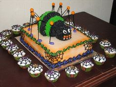 Spider cake and cupcakes.