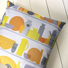 Kitchen Cupboard Print Cushion Cover Grey Yellow Home Pillow Sham by LouiseBrainwood on Etsy https://www.etsy.com/uk/listing/549862239/kitchen-cupboard-print-cushion-cover