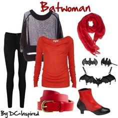 Batwoman by dc-fashion on Polyvore featuring L.K.Bennett, Jasmin Shokrian, Oasis, Pleaser, Noir Jewelry, Love Quotes Scarves, J.Crew, batwoman, comic books and dc comics
