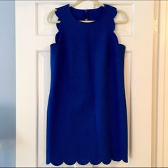 J Crew Scalloped Trim Dress Original J. Crew Royal Blue dress has a classic look with a straight silhouette. The tailored design that falls to mid-thigh is universally flattering and perfect to dress up or down! Crepe fabric doesn't wrinkle and has kept this dress in perfect condition - worn only twice! J. Crew Dresses Mini