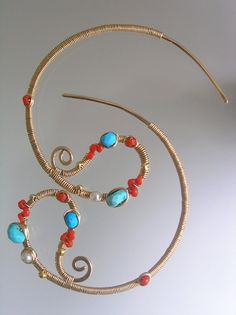 Summertime...Turquoise Vintage Coral Studded Gold by bellajewelsII, $54.00