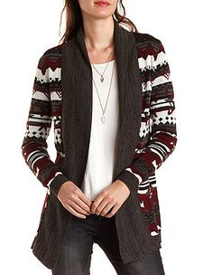 These aztec patterns rock my socks.  Probably size large on all these cardigans and sweaters so they'll be extra cozy-wozy.