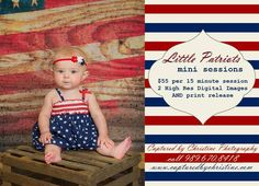 Celebrate Independence day with Little Patriots mini sessions! Contact us to book your session on June 20th!