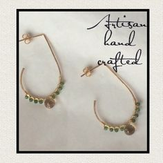 """Jeweled gold open hoop artisan earrings Hand formed and textured 14k gold filled open hoops adorned with champagne quartz briolettes and green quartz. Post with 14k GF nut. Very sparkly and pretty! Brand new, hand made. Measures 1.75"""" long by 1"""" wide. Michelle V. Gems Jewelry Earrings"""