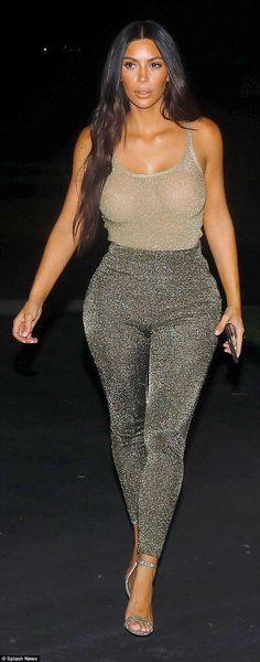 Kim Kardashian leaves little to the imagination in SHEER tank top #dailymail