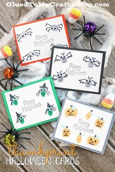 Thumbprint Halloween Cards - Kid Craft Idea