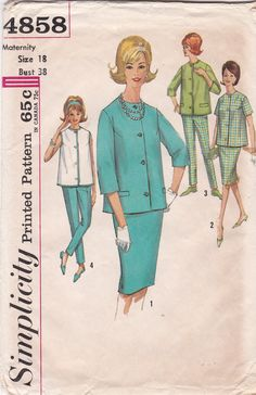 Maternity Top, Skirt, Pants Patterns Bust Size 38 Sleeveless Shirt Tapered Pants Straight Skirt Vintage Simplicity Sewing Pattern 4858 CUT Vintage Dress Patterns, Dress Sewing Patterns, Vintage Skirt, Vintage Dresses, Vintage Outfits, Costume Patterns, Maternity Tops, Maternity Fashion, Maternity Dresses