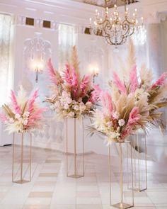 Pampas Grass Wedding Ceremony # Pampas Grass # Pampas Grass Wedding # Pink Pampas Grass # We . Wedding Table Centerpieces, Wedding Flower Arrangements, Wedding Bouquets, Floral Arrangements, Centerpiece Ideas, Pink Wedding Decorations, Feather Centerpieces, Church Decorations, Spring Decorations
