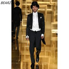 wedding black tuxedo long tail for men formal wear 2017 custom made suit groom  dress 3 piece suits